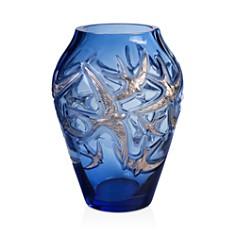 Lalique - Limited Edition Platinum-Stamped Hirondelles Vase