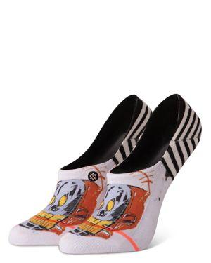 Limited-Edition Jean-Michel Basquiat Mr Roboto Invisible Liner Socks, White/Black/Multi