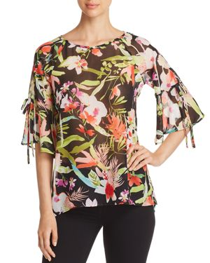 STATUS BY CHENAULT Status By Chenault Floral Bell-Sleeve Top in Black/Lime
