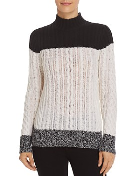 C by Bloomingdale's - Mixed Knit Color-Block Cashmere Sweater - 100% Exclusive