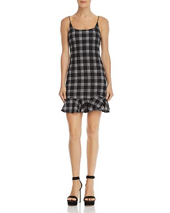 AQUA - Flounce-Hem Plaid Dress - 100% Exclusive