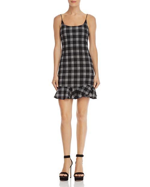 AQUA - Flounce-Hem Plaid Dress - 100% Exclusive