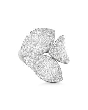 PASQUALE BRUNI 18K WHITE GOLD SECRET GARDEN DIAMOND THREE-PETAL RING