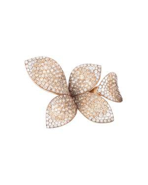 PASQUALE BRUNI 18K ROSE GOLD GIARDINI SEGRETI DIAMOND & CHAMPAGNE DIAMOND FLORAL RING