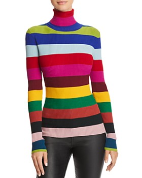 MILLY - Rainbow Stripe Turtleneck