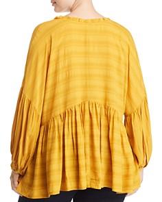 Lucky Brand Plus - Tonal Stripe Peasant Top