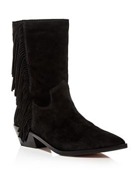 Rebecca Minkoff - Women's Krissa Suede Fringe Low-Heel Boots