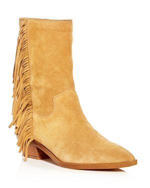 Women'S Krissa Suede Fringe Low-Heel Boots, Beige Suede