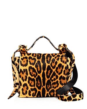 Elena Ghisellini Small Leopard Print Calf Hair Crossbody