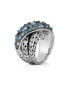 JOHN HARDY - Sterling Silver Classic Chain Crossover Ring with Blue Topaz & Blue Zircon