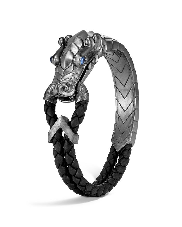 JOHN HARDY - Sterling Silver Legends Naga Bracelet with Black Rhodium & Blue Sapphire Eyes