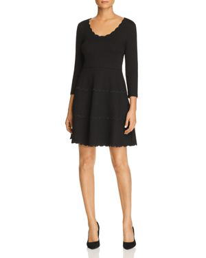 KATE SPADE Scoop-Neck Mini Dress In Scalloped Ponte in Black