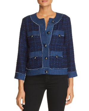 Broome Street Denim Tweed Jacket, Indigo Multi
