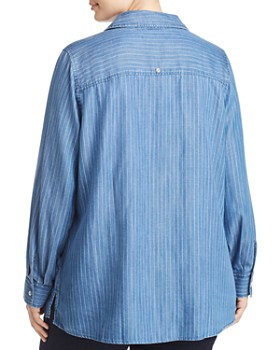 Foxcroft Plus - Addison Pinstriped Chambray Top