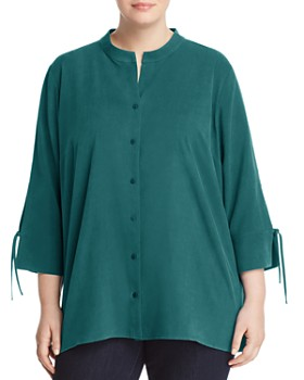Eileen Fisher Plus - Tie-Sleeve Silk Blouse