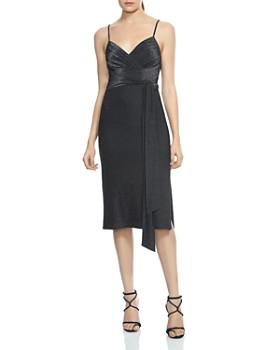 HALSTON HERITAGE - Faux-Wrap Metallic Jersey Dress
