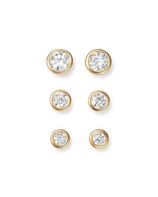 Diamond Bezel Stud Earrings in 14K Yellow Gold,  .50 ct. t.w.  - 100% Exclusive