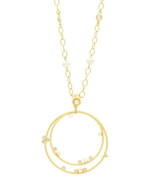 FREIDA ROTHMAN RADIANCE DOUBLE-LOOP PENDANT NECKLACE, 27