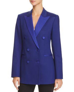 Double-Breasted Wool Tuxedo Blazer, Cosmic Blue