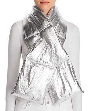 Aqua Metallic Puffer Scarf - 100% Exclusive