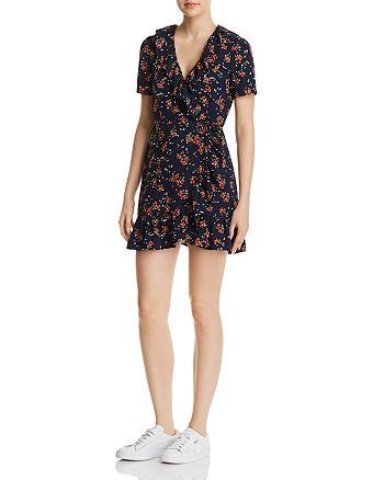 eb06e0c59aa7 Re Named - Cassandra Floral-Print Mini Wrap Dress