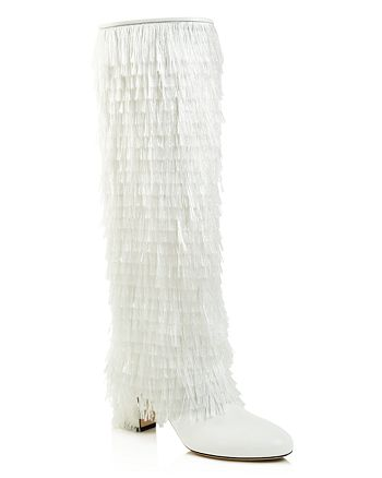 Jimmy Choo - Women's Magalie 65 Fringed Leather High Block-Heel Boots
