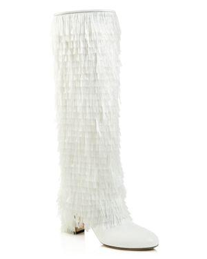 Jimmy Choo Women's Magalie Round Toe Fringe Leather High-Heel Boots 3045118