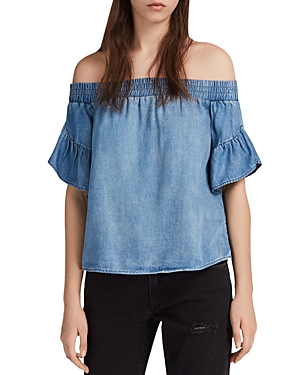 Allsaints Adela Off-the-Shoulder Chambray Top