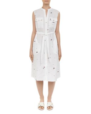 Colour By Numbers Xxena Embroidered Shirt Dress in Ivory