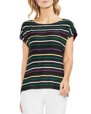 Vince Camuto Petites Paradise Stripe Mixed Media Top
