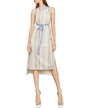 Bcbgmaxazria Striped Tie-Waist Midi Dress