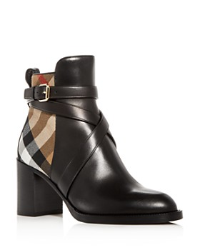 Burberry - Women's Vaughan Vintage Check & Leather Block Heel Booties
