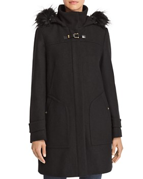 Cole Haan - Faux Fur Trim Twill Duffel Coat