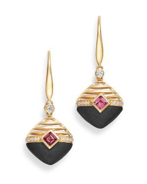OLIVIA B 14K YELLOW GOLD DIAMOND, MATTE BLACK ONYX & RHODOLITE GARNET DROP EARRINGS - 100% EXCLUSIVE
