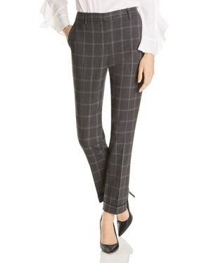 T TAHARI ASHLEY PLAID CUFFED PANTS