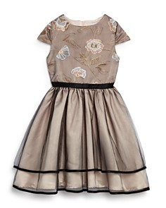 US Angels - Girls' Embroidered Mesh Tiered Dress - Little Kid