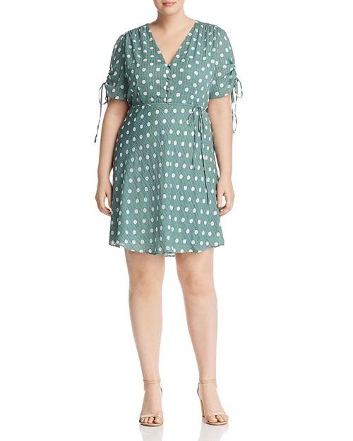 GLAMOROUS CURVY - V-Neck Polka-Dot Dress