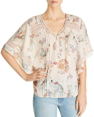 DANIEL RAINN PRINTED CROCHET-TRIM TOP