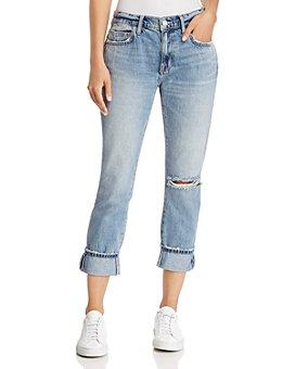 Current/Elliott - The Fling Cuffed Cropped Boyfriend Jeans in 2 Year Destroy Rigid Indigo
