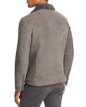 John Varvatos Collection - Shearling-Trimmed Suede Jacket