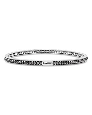 Lagos Sterling Silver Caviar Icon Hematite Beaded Bangle Bracelet