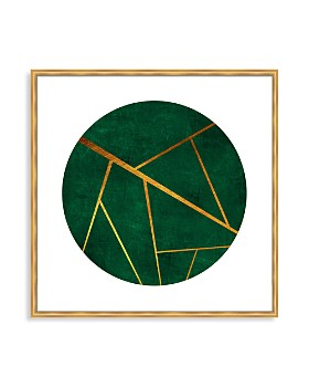 "Art Addiction Inc. - Green Circle & Gold Slashes Wall Art, 36"" x 36"" - 100% Exclusive"