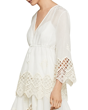 Bcbgmaxazria Mosaic Embroidered-Trim Drawstring Top