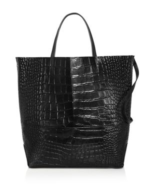 ALICE.D Large Croc-Embossed Leather Tote Bag - 100% Exclusive in Black/Gold