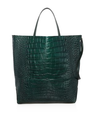ALICE.D Large Croc-Embossed Leather Tote Bag - 100% Exclusive in Green/Gold