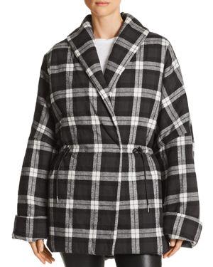 DIVINE HÉRITAGE Plaid Puffer Coat in Black/White