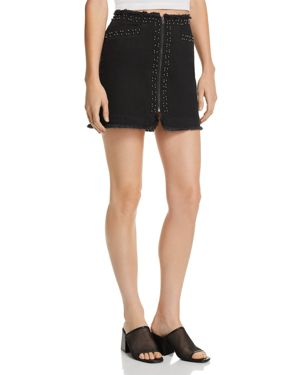 PISTOLA BEADED FRAYED DENIM SKIRT - 100% EXCLUSIVE