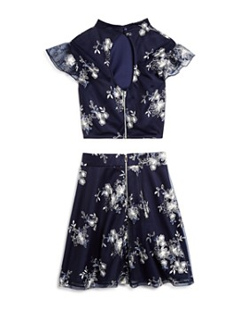Miss Behave - Girls' Diana Floral Embroidered Top & Skirt Set - Big Kid