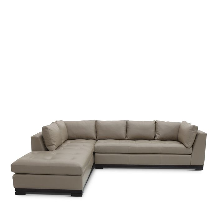 Bloomingdale S Collection Carter 2 Piece Leather Sectional Left Facing Chaise 100