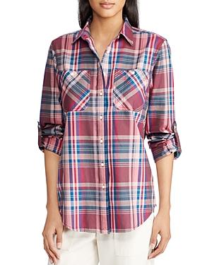 Lauren Ralph Lauren Roll-Sleeve Plaid Shirt